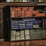 bookshelf with prayer books