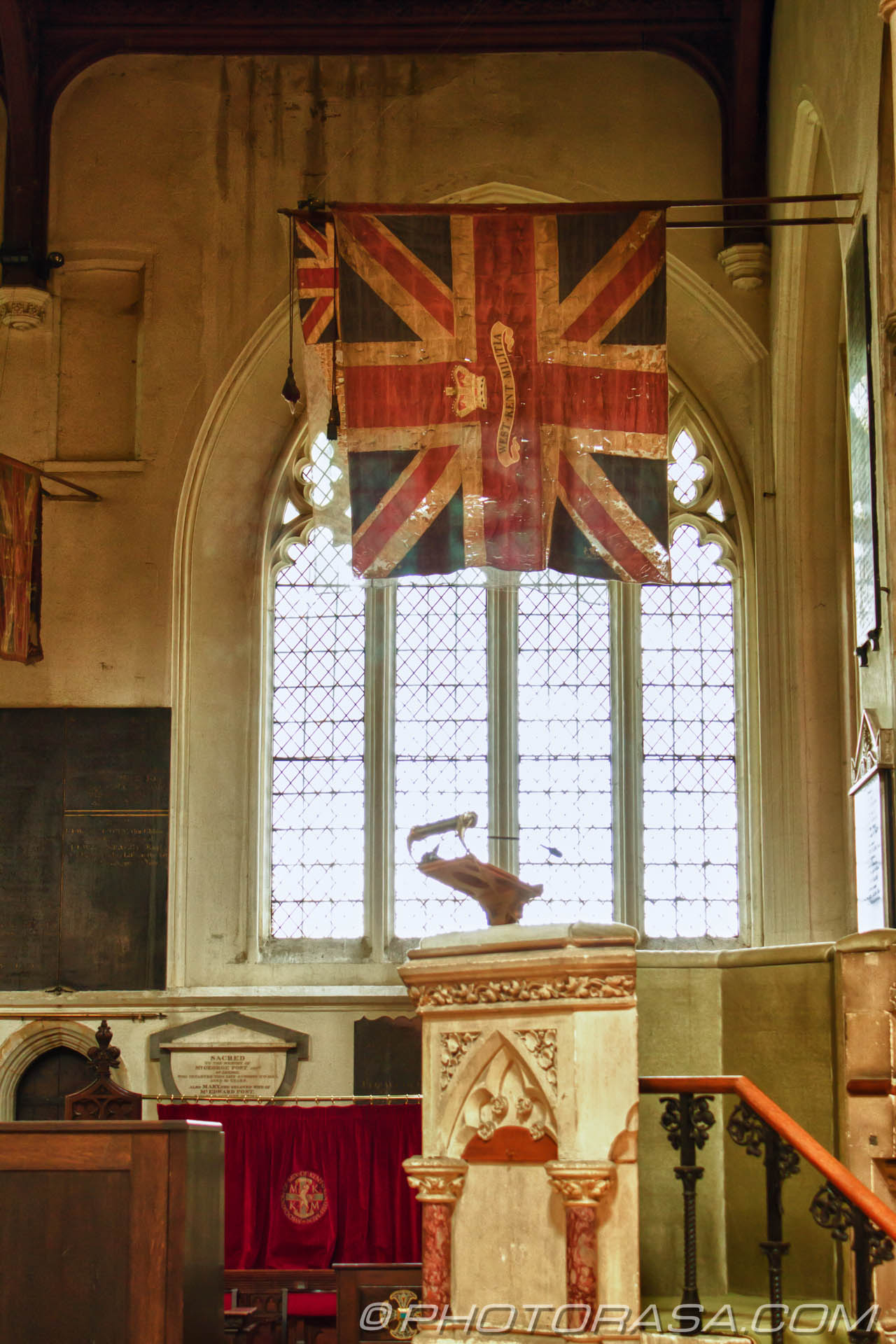 http://photorasa.com/inside-all-saints-church-in-maidstone/old-british-flag-in-church/