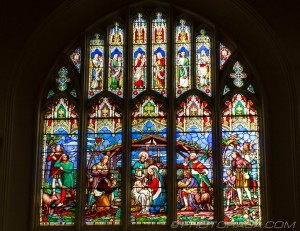stained glass of the birth of christ and nativity