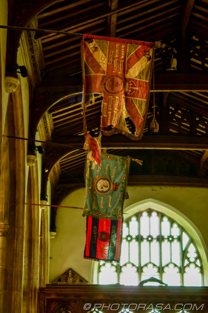 torn british flag in church
