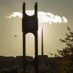 clock at dusk