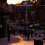 sunset sun streak down the pavement