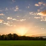 hd sunset over field