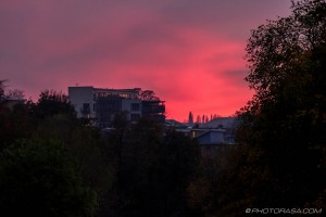 red sky over block of flats
