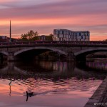 red sunset at maidstone bridge