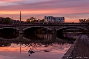 red sunset at maidstone bridge