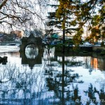 riverside entrance to archbishops palace flooded with water