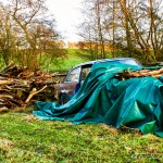 abandoned car in field