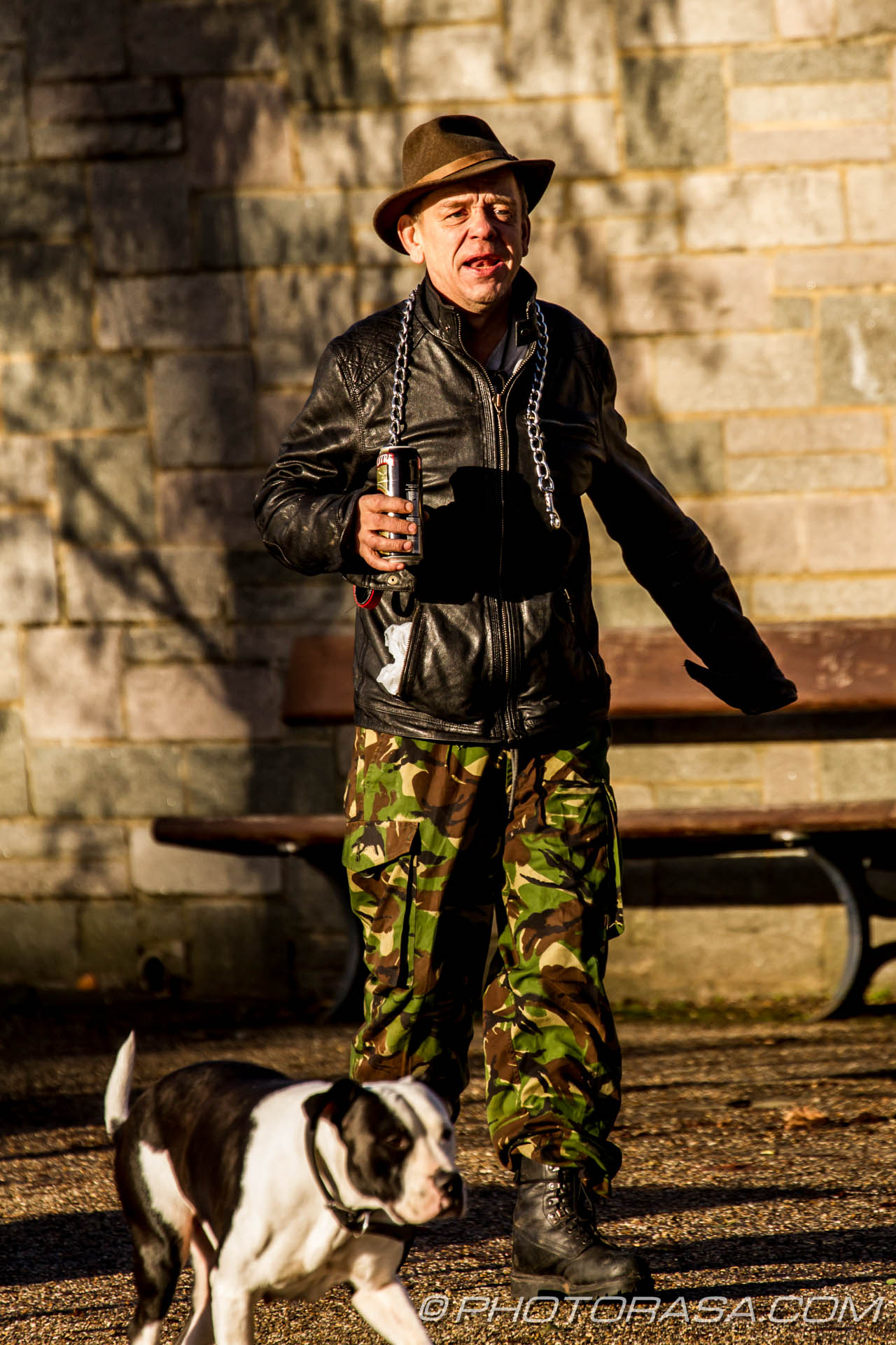 http://photorasa.com/classic-drunken-swagger/drunkard-walking-his-bull-terrier-dog/