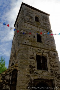 stone tower and bunting