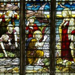 north stained glass window detail showing fishermen begging jesus for help