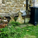 graves and rubbish bins