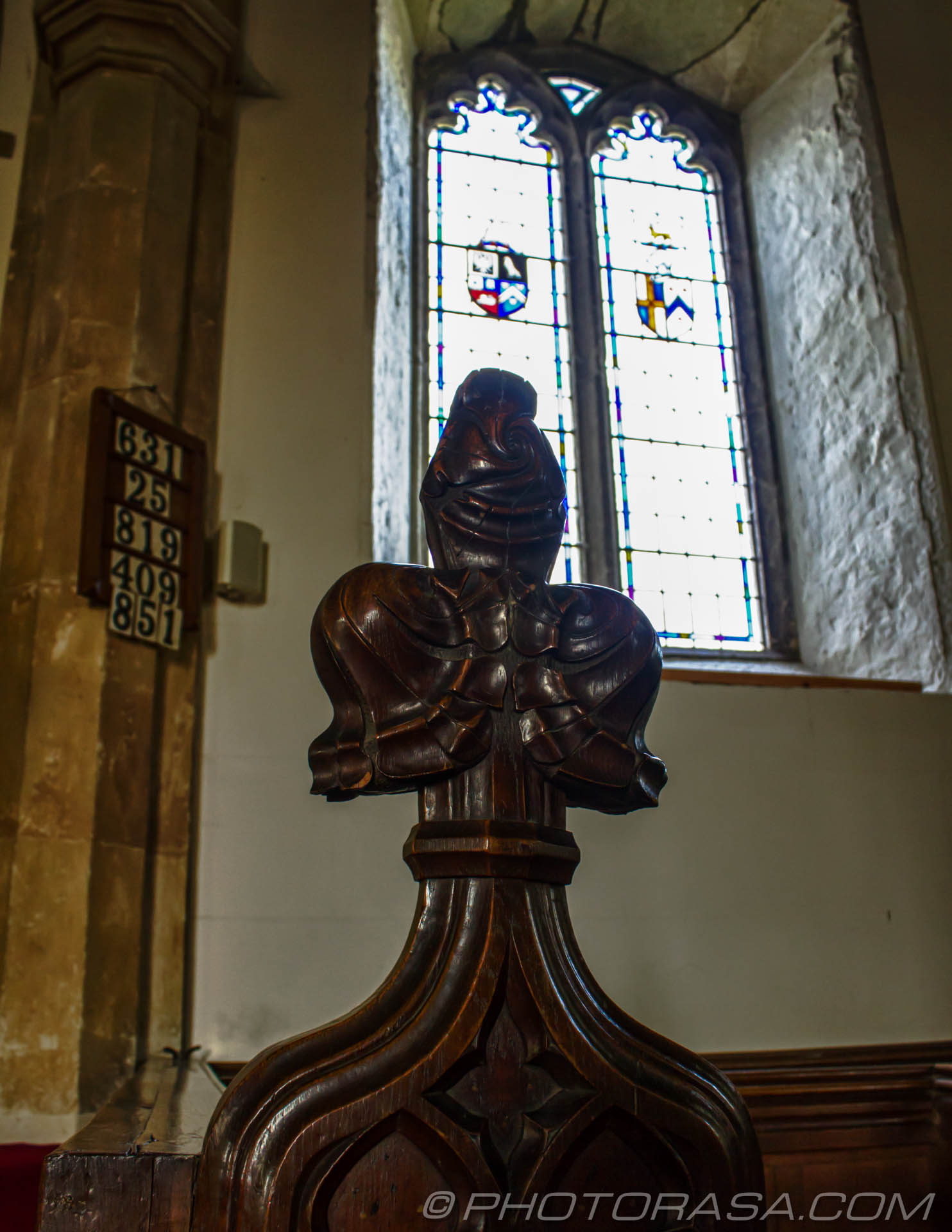 http://photorasa.com/saints-church-staplehurst-kent/pew-decoration-and-window/