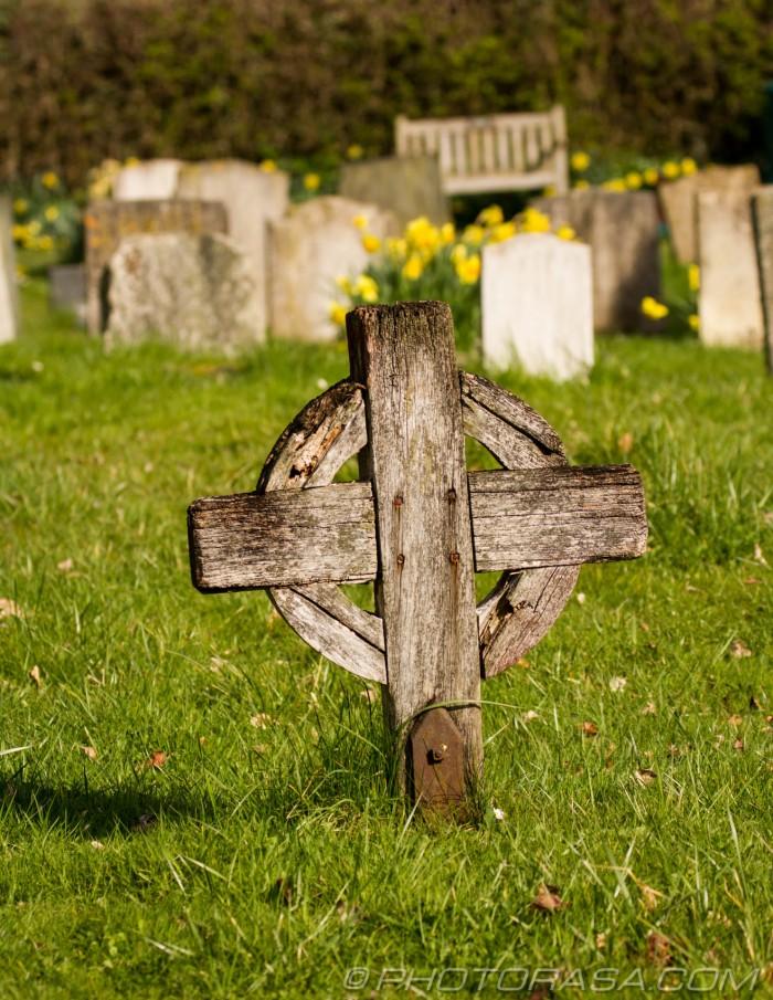 wooden celtic cross grave marker