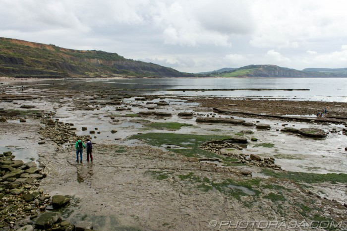 couple walking on jurassic beach