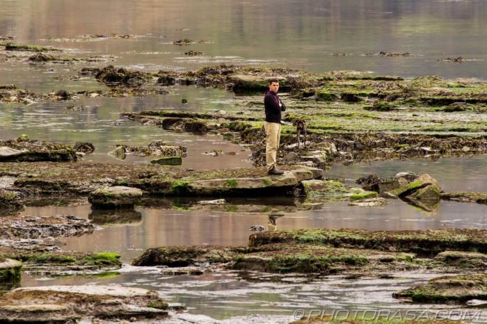 man and dog at the beachy rocks