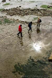 people walking across jurassic rocks