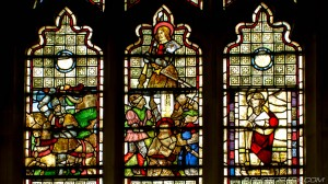 damaged and repaired stained glass