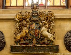 heraldic wooden carving
