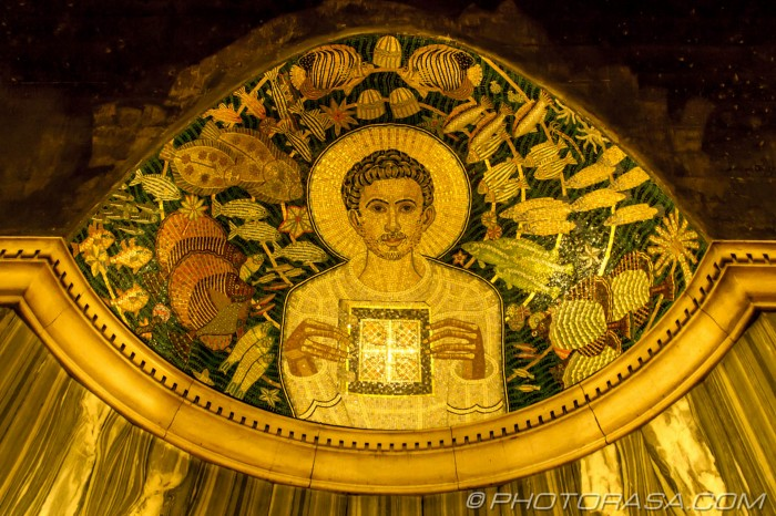 mosaic showing a saintly figure underwater
