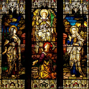 stained glass depicting the resurrection of christ