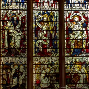 stained glass of three kings in heaven and holy scribes