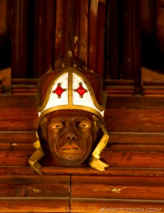 victorian roof carving of bishops head