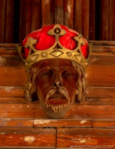victorian roof carving of kings head
