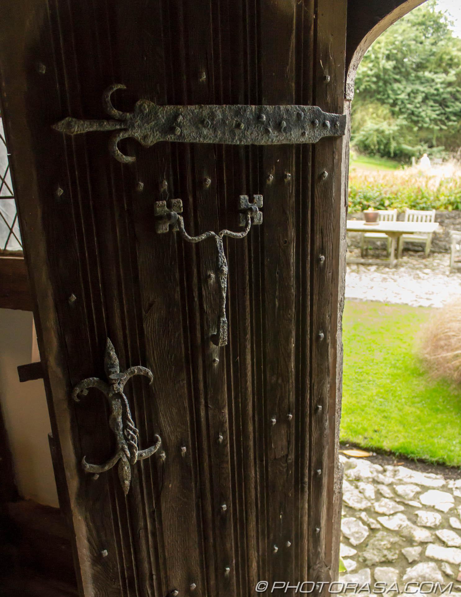 Wooden back door with metal fixtures photorasa free hd for Wooden rear doors