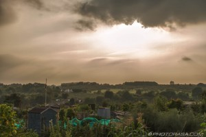 hazy sun and clouds over an allotment