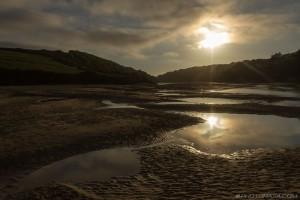 low tide river gannel estaury on a summer evening