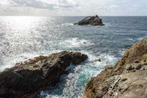 pentire peninsular headland coastal rocks