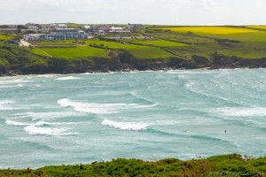 west pentire and mouth of river gannel from pentire peninsula
