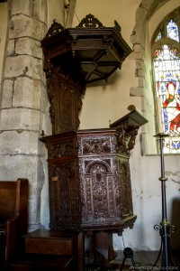 extravagantly carved wooden church pulpit