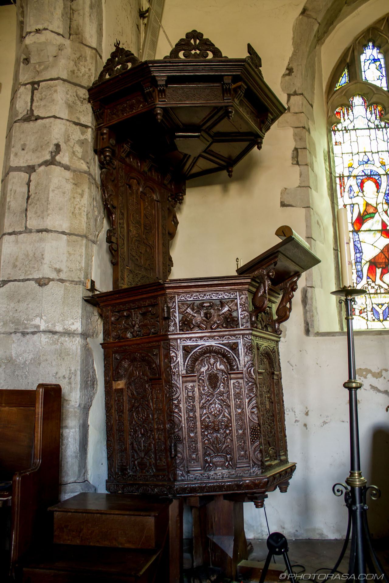 http://photorasa.com/st-marys-church-in-lenham/extravagantly-carved-wooden-church-pulpit/
