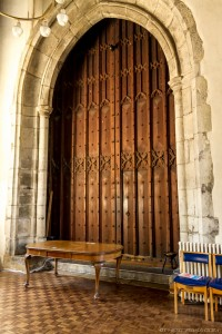 massive wooden church double doors