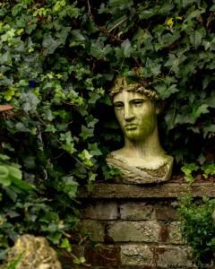 roman statue head in vines