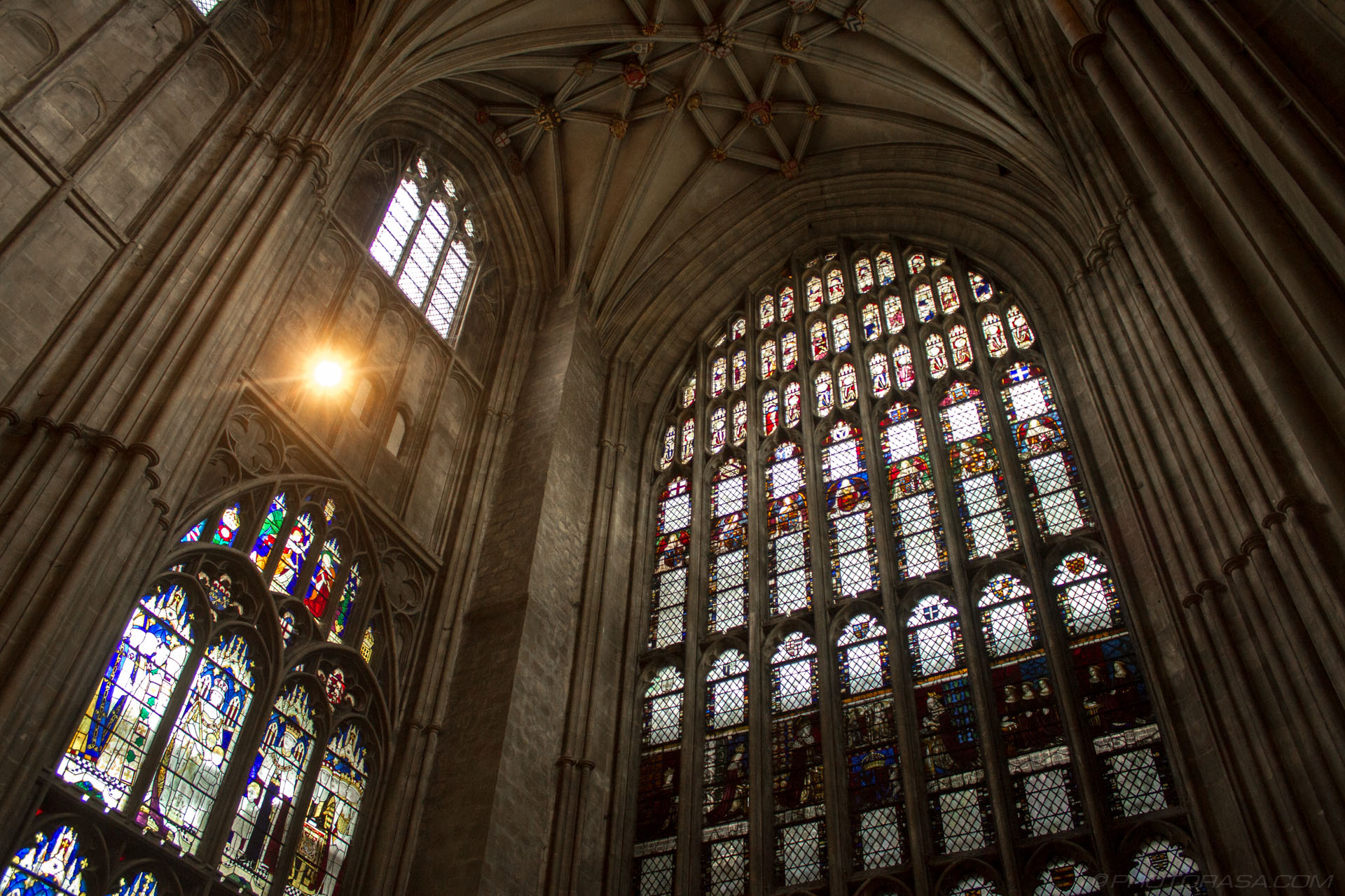http://photorasa.com/canterbury-cathedral/stained-glass-windows-and-vaulted-ceiling-in-north-east-corner-of-nave/