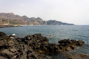 giardini naxos coast and lava rocks