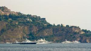 group of super yachts near giardini naxos