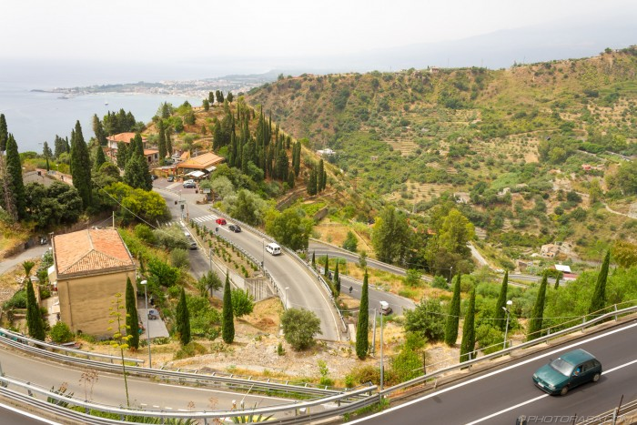 roads up to taormina town