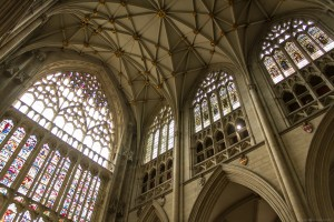 rose window and ceiling
