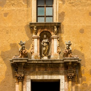 statues above building entrance