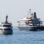 two super yachts close up
