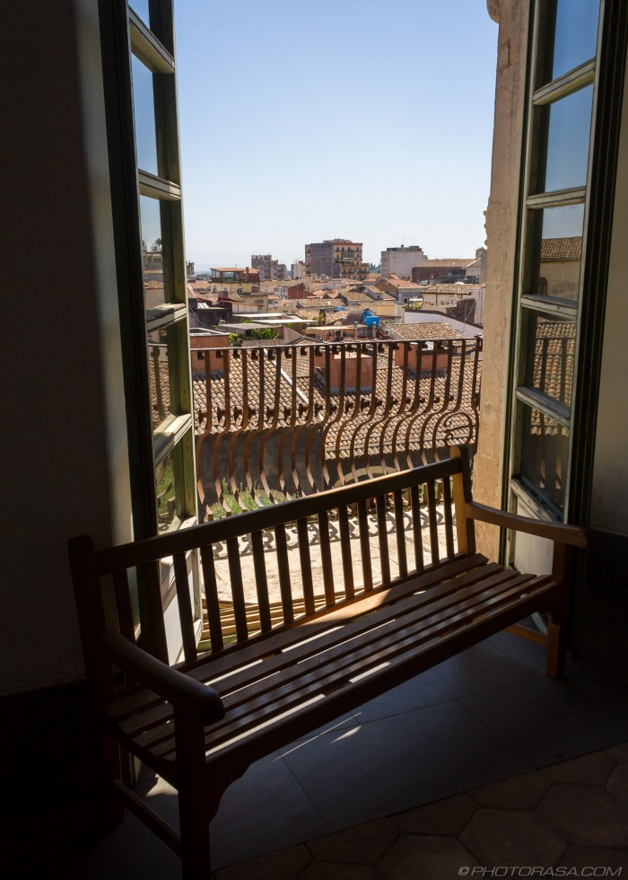 view of catania from monastery window