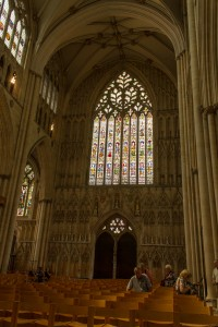 west stained glass in the nave
